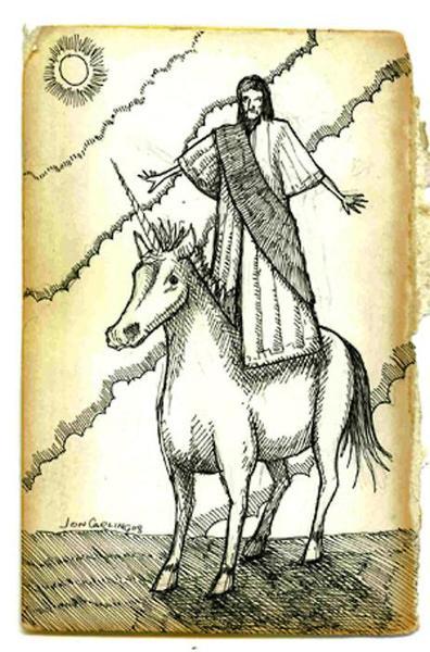 Jesus rides a Unicorn