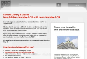 Schlow Library Closed
